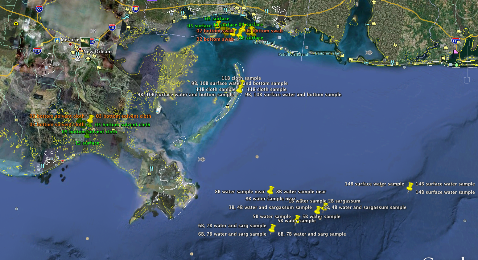 GULF SamplingMap_Water&Oil&Seafood_20100830